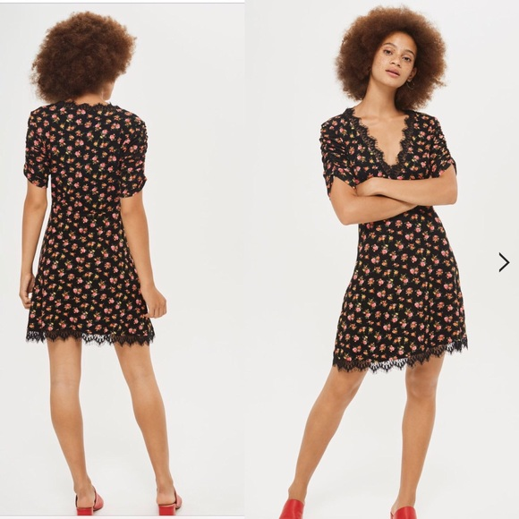 biggest discount hot products nice cheap Topshop Lace Trim Ditsy Floral Print Tea Dress NWT
